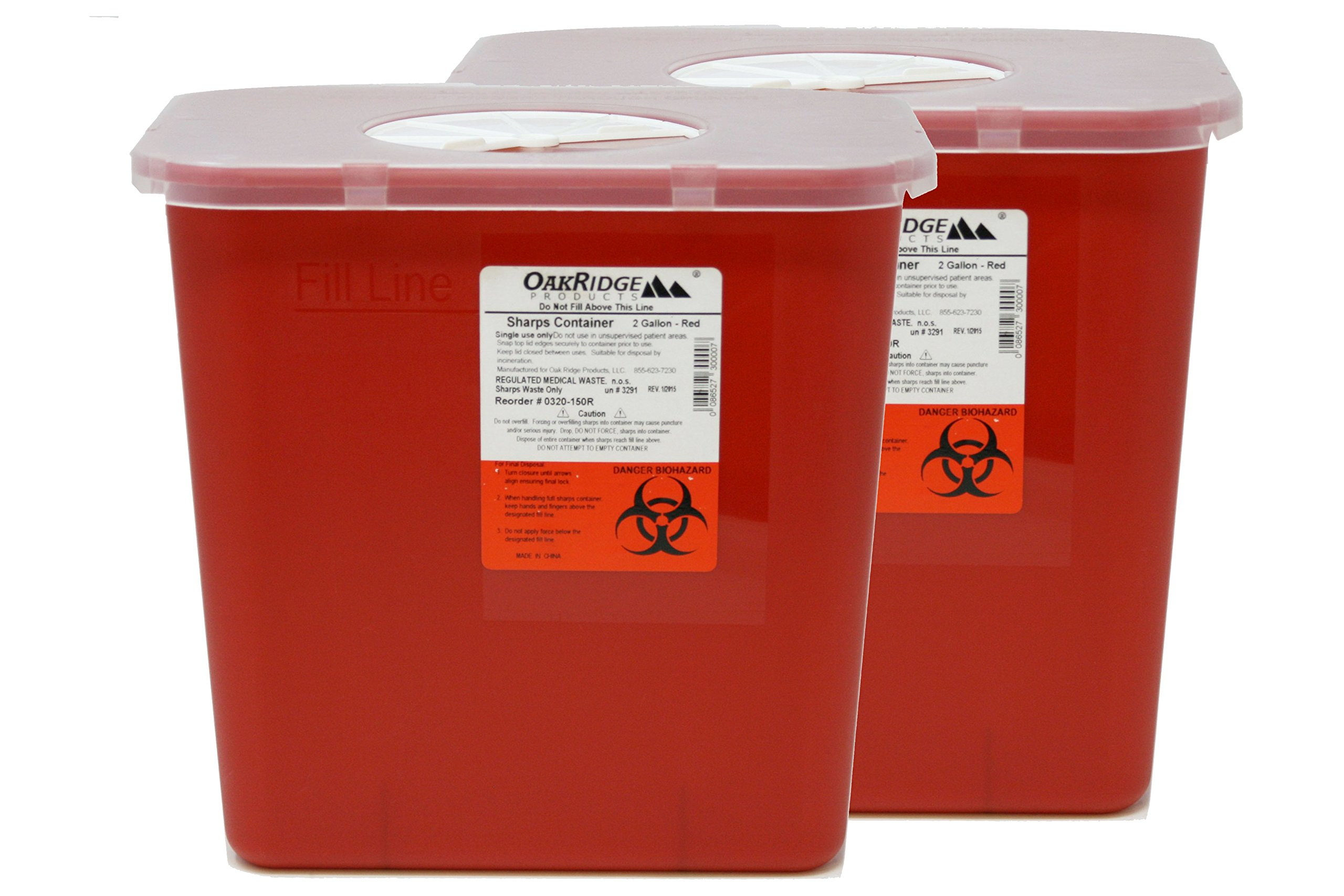 2 Gallon Size Sharps and Biohazard Waste Disposal Container (Pack of 2) by OakRidge Products by OakRidge Products