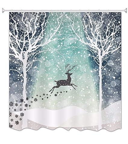 Amazon AMonamour Winter White Snow Elk Deer Running Print
