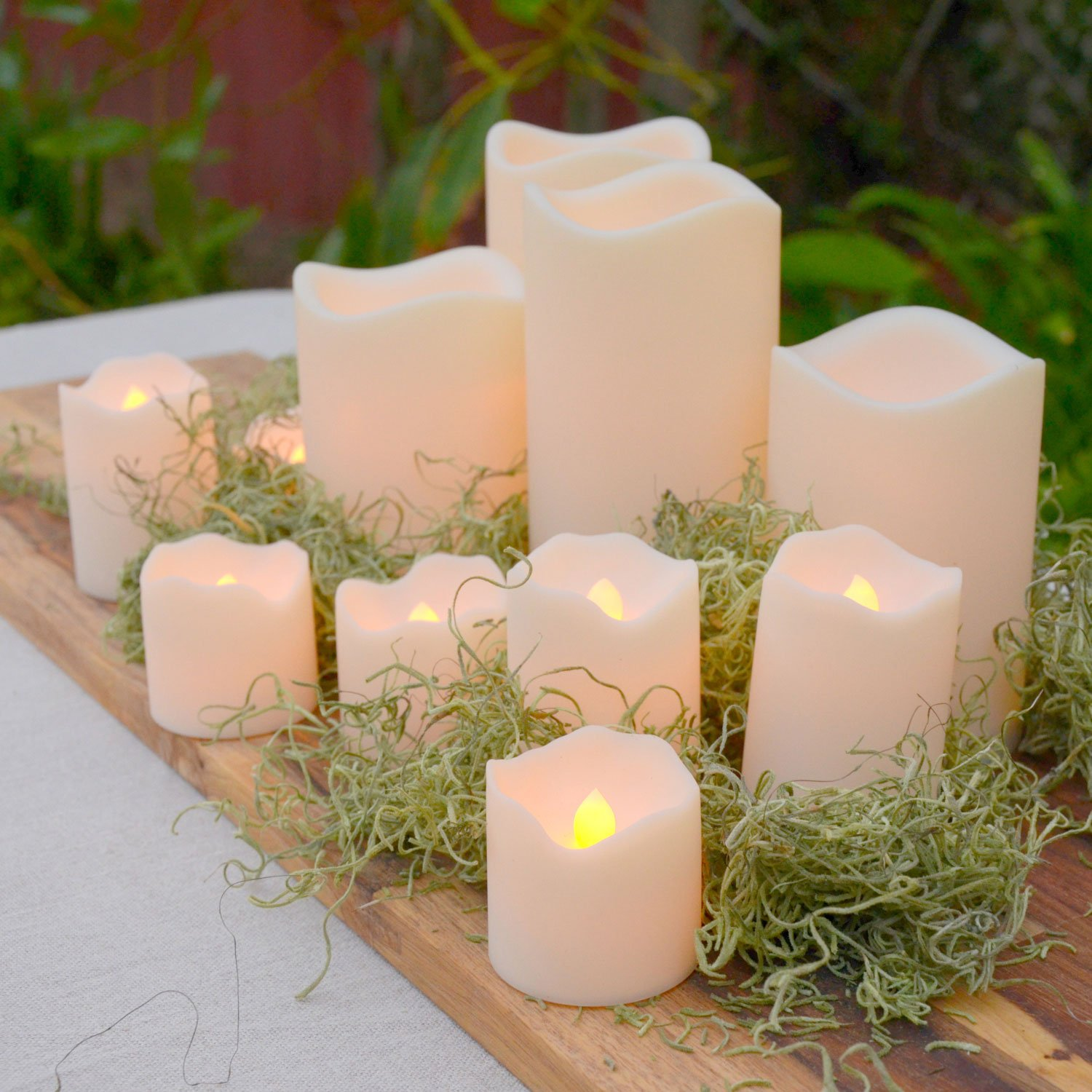 Indoor Outdoor Candles - Flameless LED Plastic Candle Set of 12, Water Resistant, Warm White and Color Changing Glow, Batteries Included