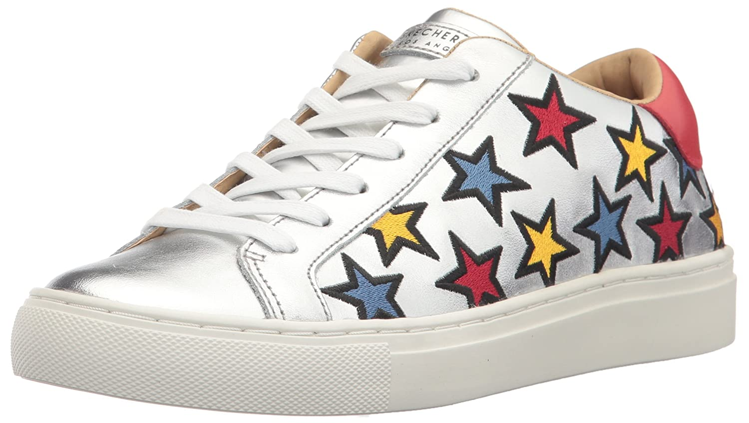 Skechers Street-Star Side Embroid, Zapatillas para Mujer 37 EU|Varios Colores (Silver Leather/ Multicolour Color Embroidered Star Trim)