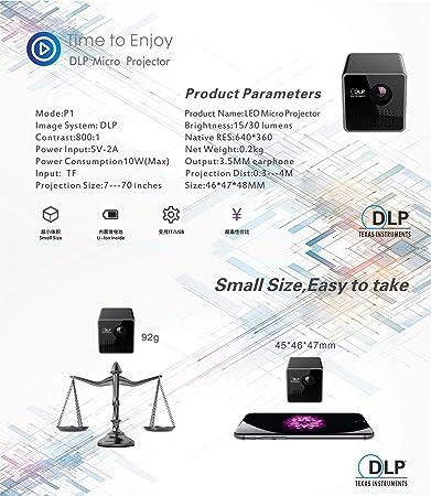 shengshiyujia P1 Mini Mini portátil Home Office Proyector HD DLP ...