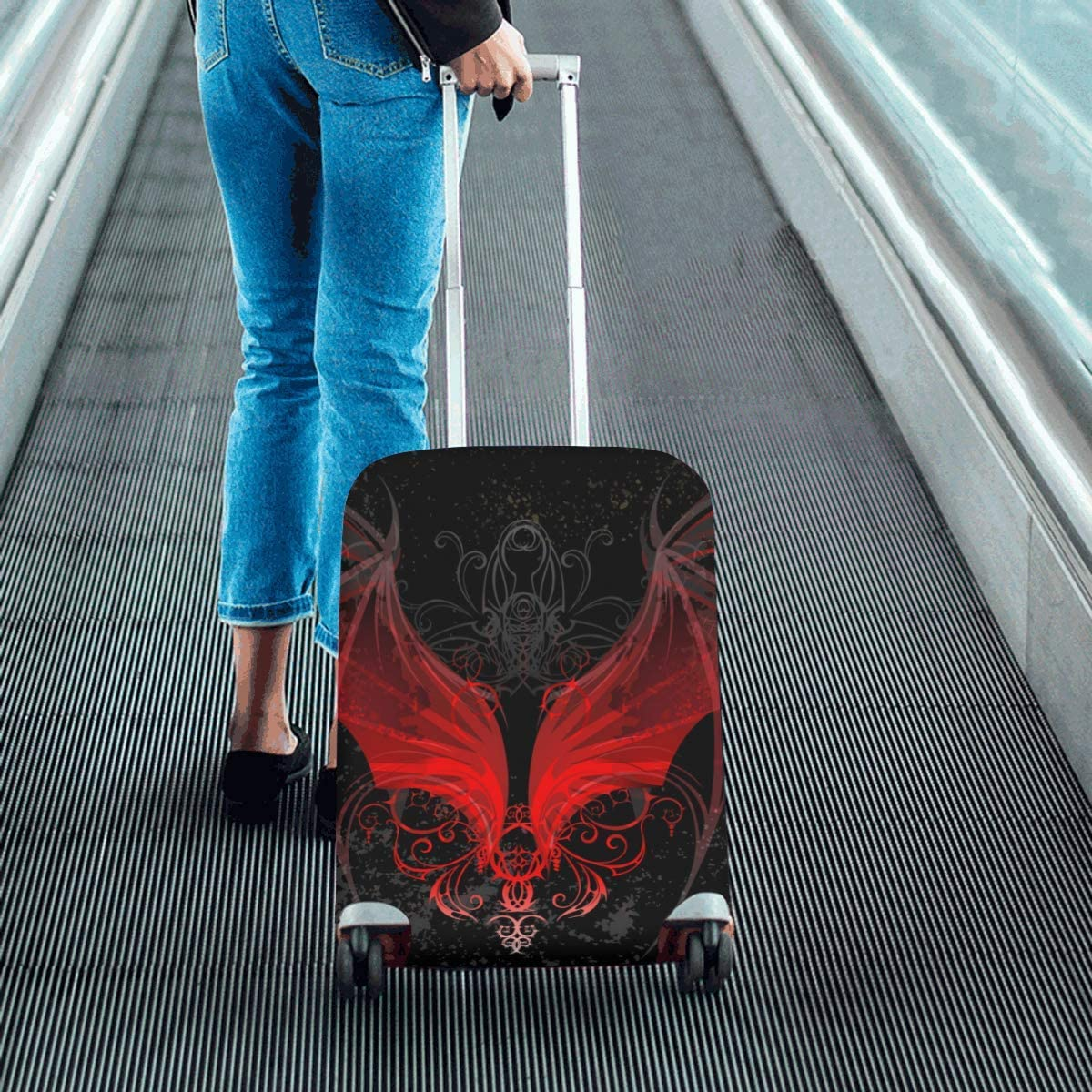 InterestPrint Luggage Cover Red Dragon Wings Traveling Luggage Cover Polyester Suitcase 20x24 Inch Unisex