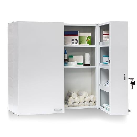 27 opinioni per Relaxdays Armadio Porta Farmaci da Muro, Metallo, 53 X 53 X 20 cm, Bianco
