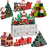 Traditional Wooden Advent Calendar Model Choice Christmas New Home Decoration Reusable DIY Gift with Drawers Santa Claus Fir Self-Filling Decor