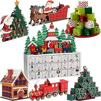 Adventskalender Zum Befüllen Weihnachts Landschaft DIY ✓ Holz ✓ Befüllbar U0026  Wiederverwendbar ✓ Holzadventskalender Weihnachtsdeko Holzboxen