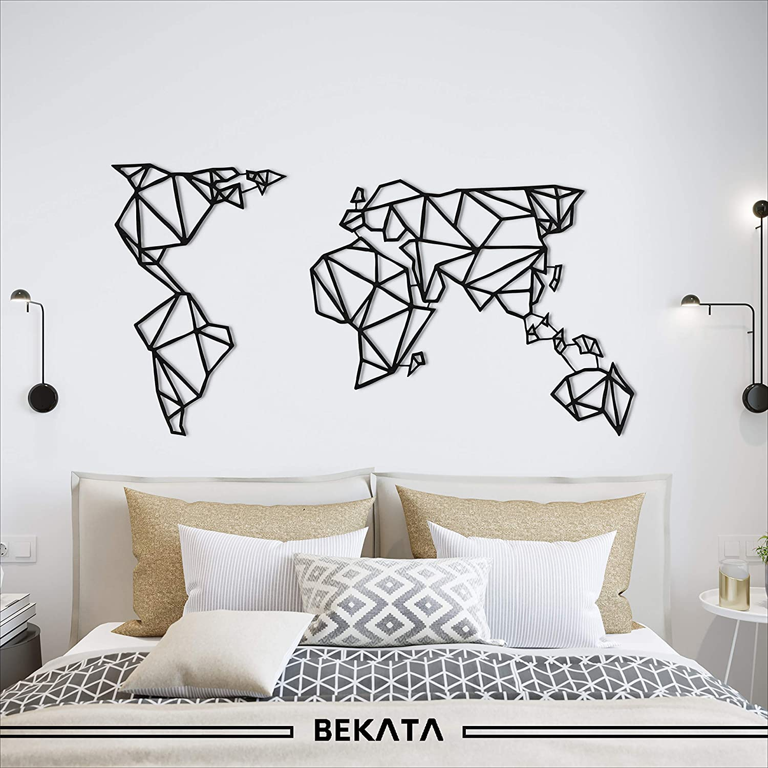 BEKATA Metal Wall Decor, World Map Black Metal Wall Art, Black ...