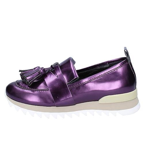 MY GREY MER Mocasines Mujer Cuero Brillante púrpura: Amazon.es: Zapatos y complementos
