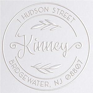Address Embosser Seal Round Custom Monogram Embosser, Personalized Embossing Seal, Personalized Stamp, Hand Desk Embosser. for Office 1.65 inch (Seal 4)