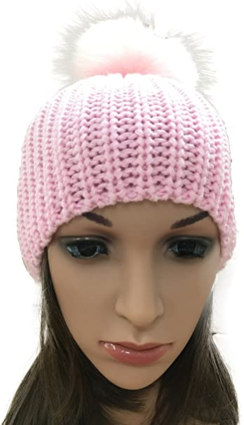 Pink Hat Fashion Cap Beanie Skull Knit Hat Womens Girls
