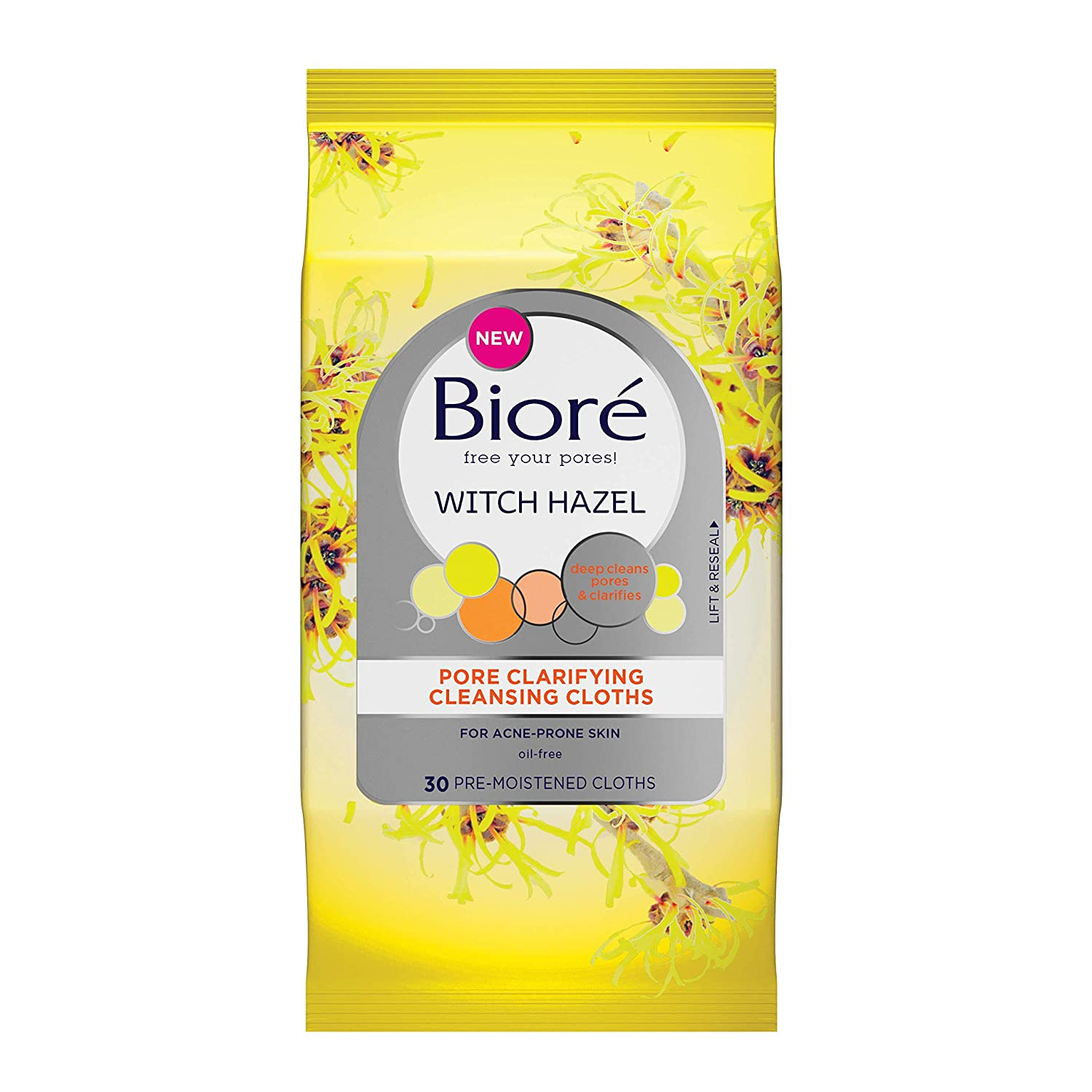 Biore Witch Hazel Pore Clarifying Cleansing Cloths 30 Ea, 30 Count