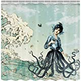 Mermaid Octopus In Great Wave Customize Waterproof Polyester Fabric Bathroom Shower Curtain 72*72 Inch