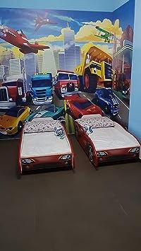 Unbekannt Autobett Leomark Sport CAR Kinderbett mit Matratze 140 x 70 Juniorbett inklusiv Matratze Funktionsbett Einzelbett m