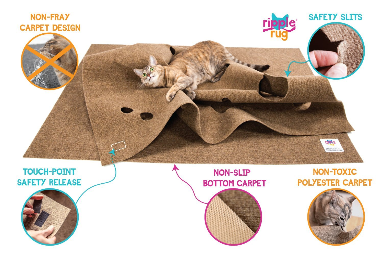 SnugglyCat The Ripple Rug - Made in USA - Cat Activity Play Mat - Thermally Insulated Base - Fun Interactive Play - Training - Scratching - Bed Mat 7