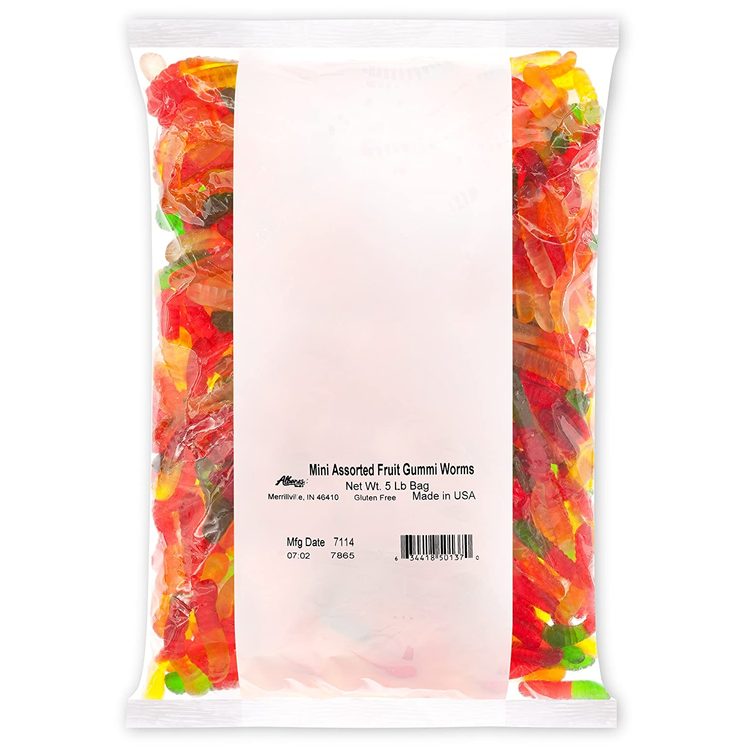 Albanese Confectionery Mini Assorted Fruit Gummi Worms, 5 Pound Bag