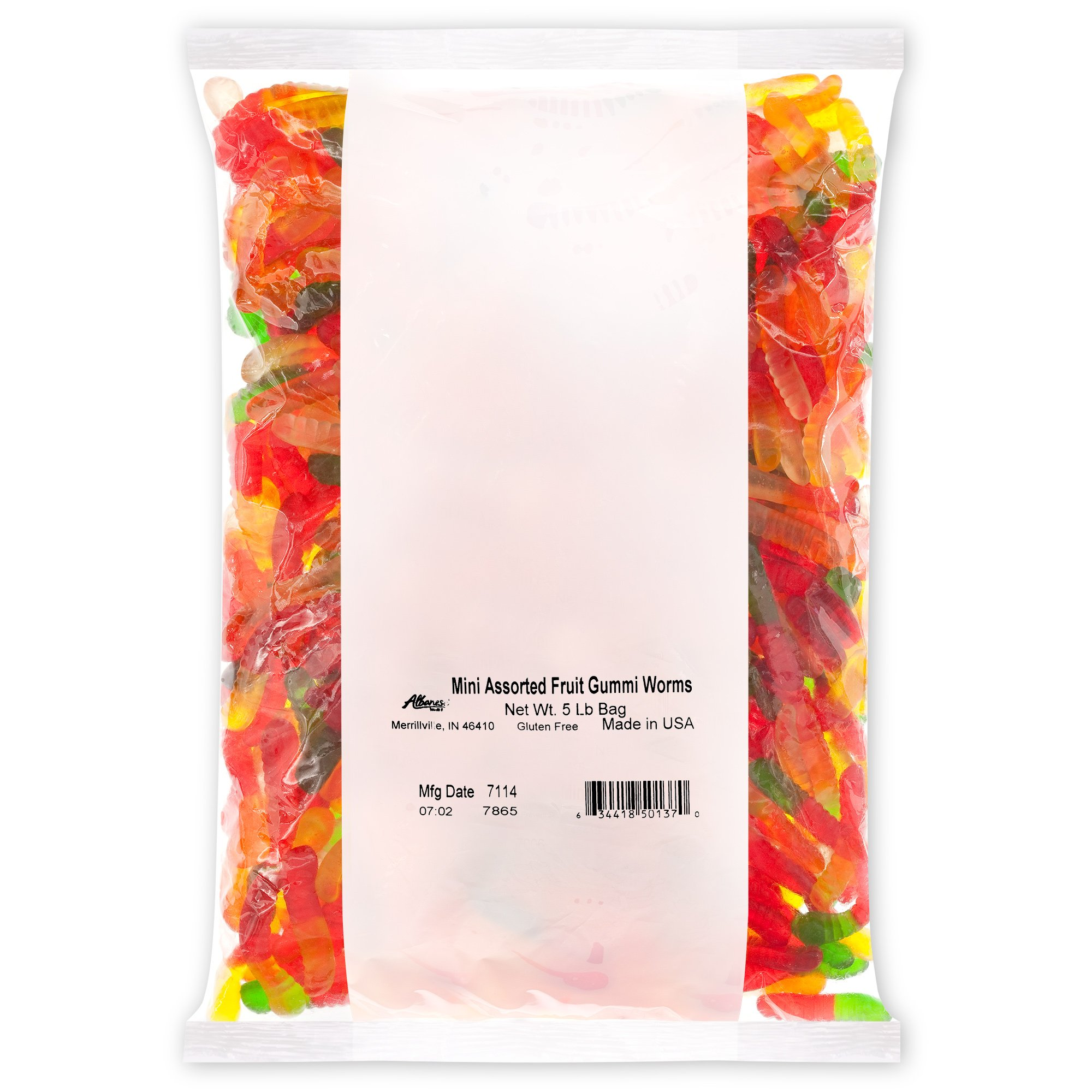 Albanese Candy Mini Assorted Fruit Gummi Worms (1) 5 Pound Bag, Gummi Candy, Assorted Fruit Flavors, Gluten Free, Dairy Free, Fat Free