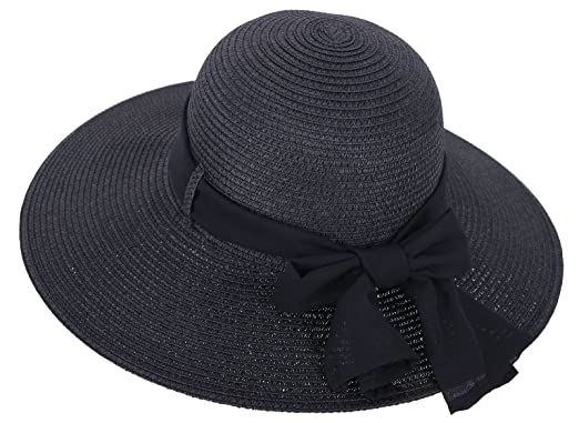 Straw Hat Women s Wide Brim Summer Beach Sun Hat w  Bowtie Ribbon ... e89f9f99188