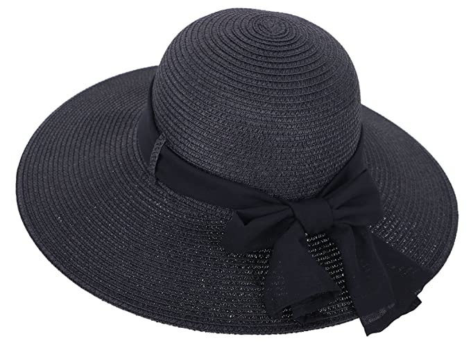 684bfe8036456 Straw Hat Women s Wide Brim Summer Beach Sun Hat w  Bowtie Ribbon ...