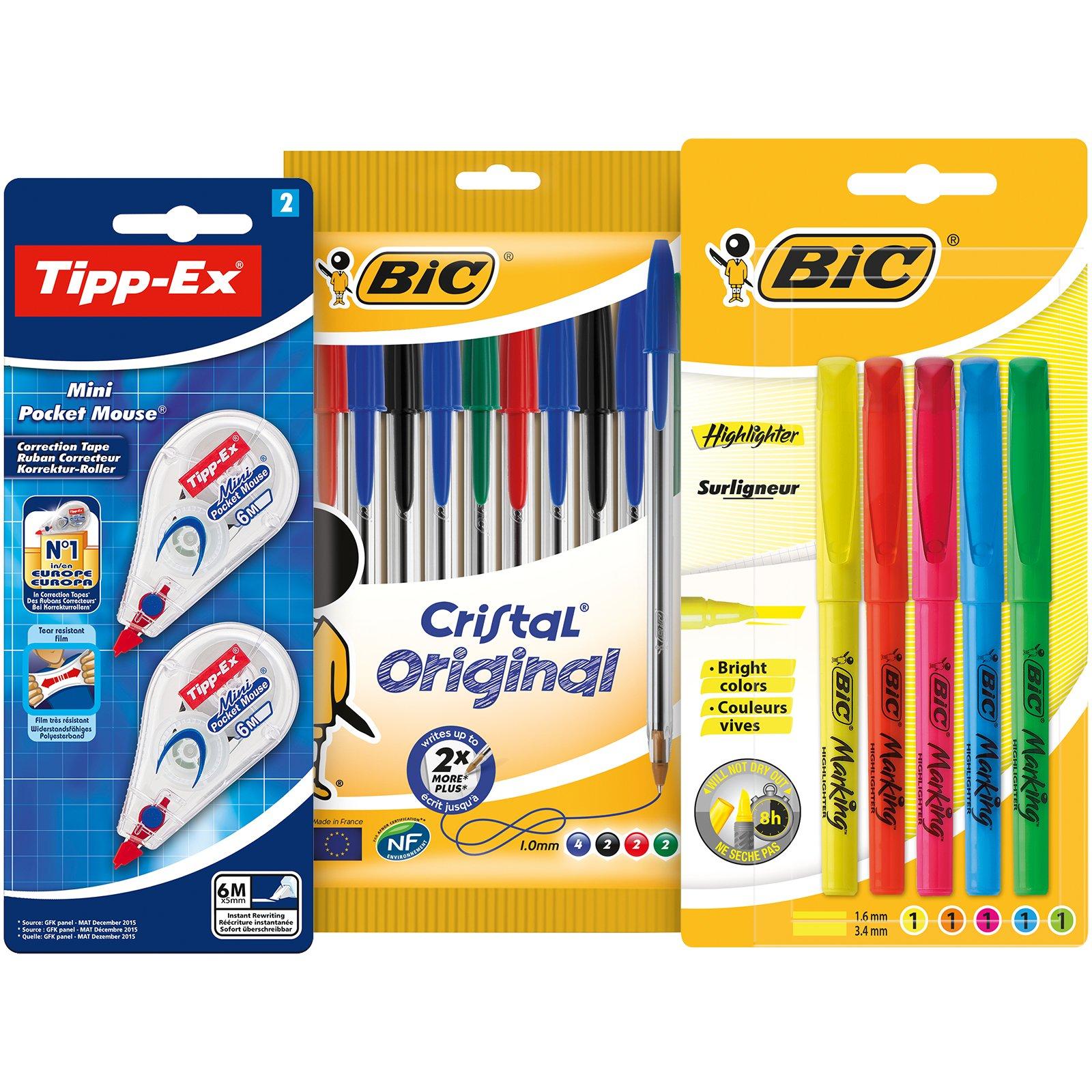 BIC y Tipp-Ex Set Vuelta al Cole de 10 bolígrafos, 5 Marcadores Fluorescentes y 2 Cintas Correctoras product image