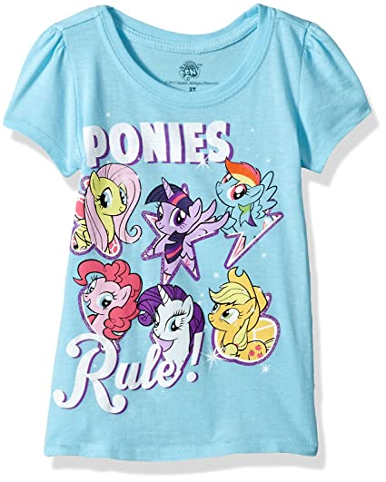 856073eb6eb7 Amazon.com: My Little Pony Girls' Toddler Best Friends Forever Short Sleeve  Puff Tee: Clothing