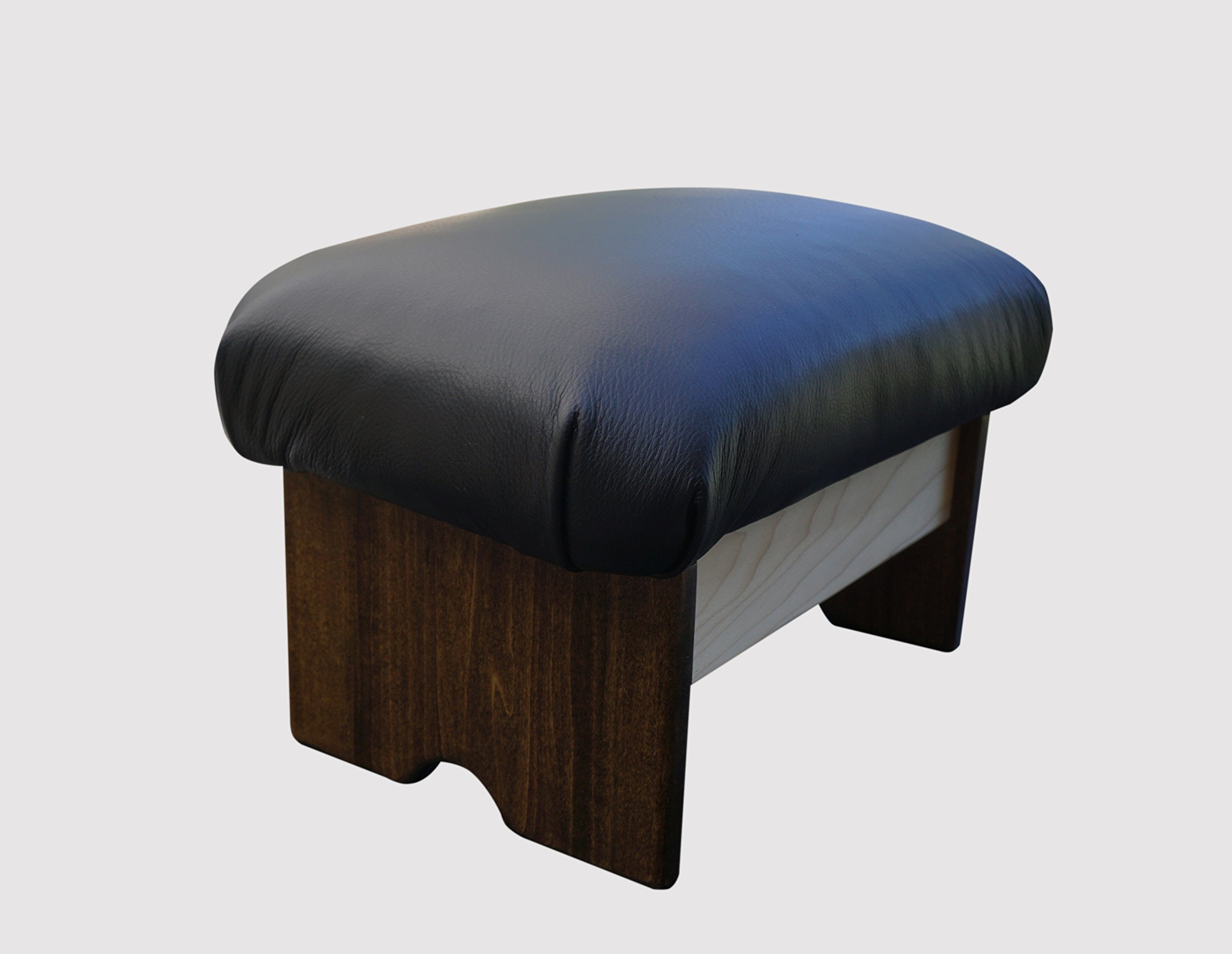KR Ideas Padded Foot Stool: Licorice Leather (Made in the USA) (Chic Stain - 9'' Tall)