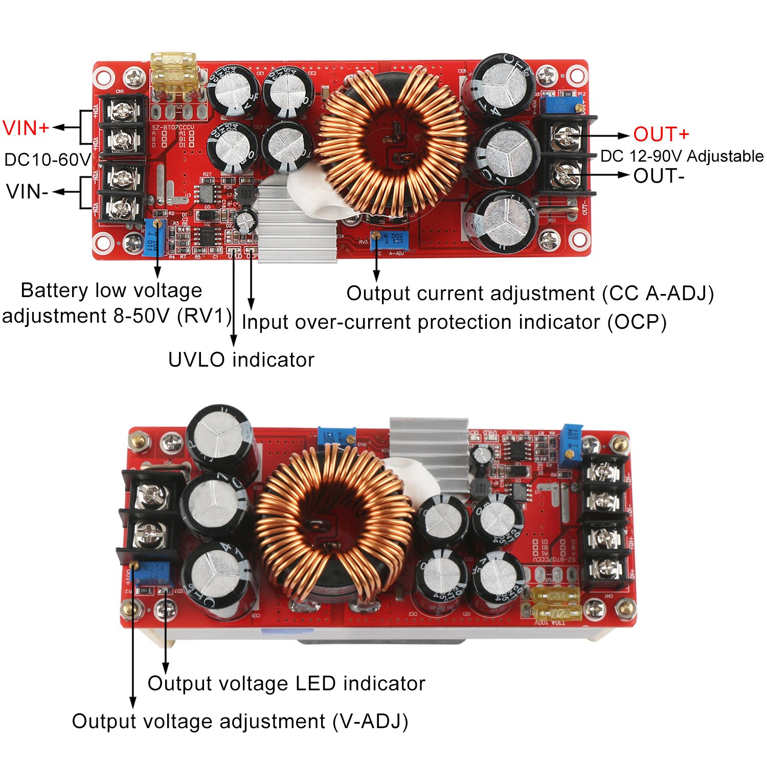 Boost Voltage Converter, DROK 1500W Voltage Regulator Booster DC 10V-60V 12V Step Up to DC 12V-90V 24V 30A Power Supply Module High Power Volt Transformer Circuit Board with Cooling Fan by DROK (Image #2)