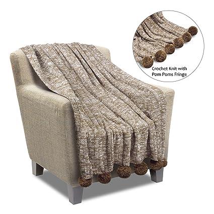 5afea16d6d3e Amazon.com  Premium Knit Pom Pom Throw Blanket 50 by 60-Inch