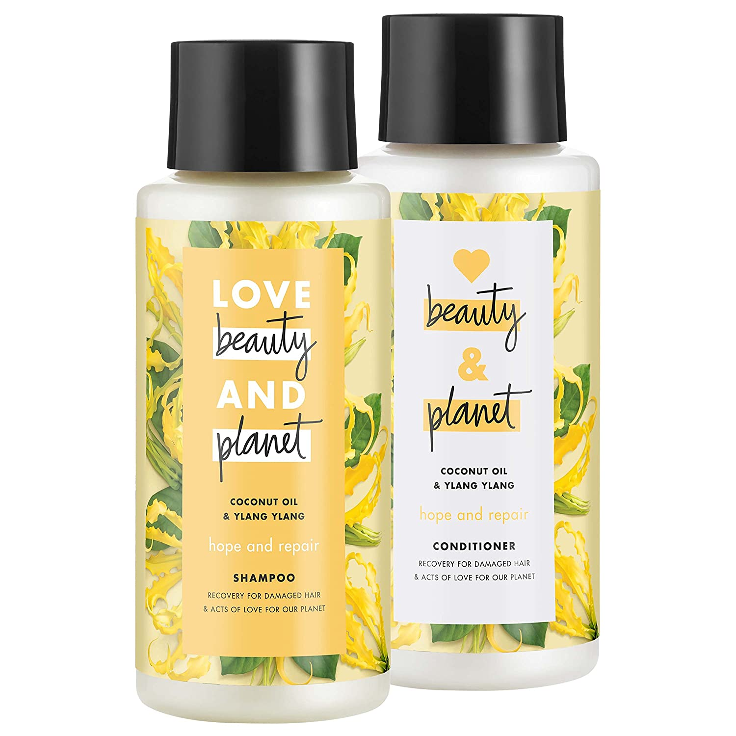 Love Beauty And Planet Shampoo and Conditioner for Damaged Hair Coconut Oil and Ylang Ylang 13.5 oz, 2 count