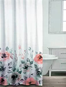 Caro Fabric Shower Curtain Vivid Floral Pattern with Large Flowers in Shades of Pink Black Gray Blue Green on White - Carys, Fall
