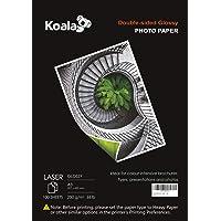 KOALA Papel Fotográfico Láser Brillante de Doble cara, A3, 250 g/m², 100 hojas, para impresoras LASER. Adecuado para…