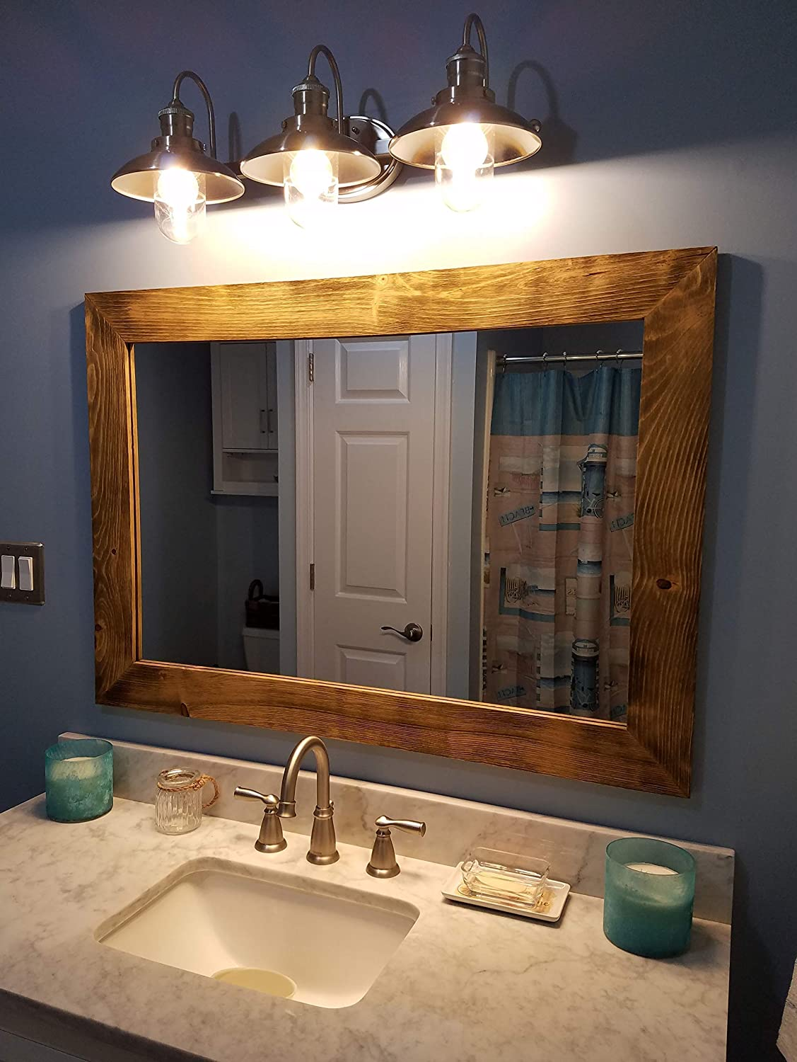 Merveilleux Shiplap Large Wood Framed Mirror Available In 4 Sizes And 20 Colors: Shown  In Driftwood Stain   Large Wall Mirror   Rustic Barnwood Style   Bathroom  Vanity ...