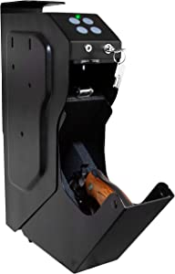 Iron Forge Tools Quick Access Handgun Safe - Small Gun Vault for Handguns or Pistols - Makes The Perfect Bedside, Vehicle or Under The Bed Gun Safe