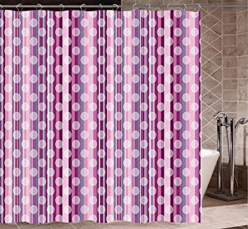 Pink Shower Curtain Extra Long Stripes Lines With Abstract Round Circles Art Print Fabric Bathroom Decor