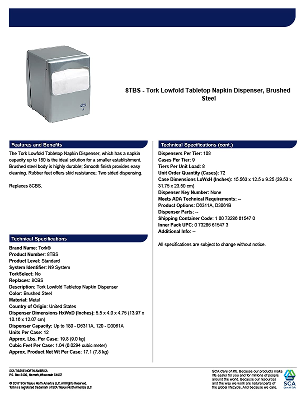 Amazon.com: Tork 8TBS Lowfold Tabletop Napkin Dispenser, 5.5