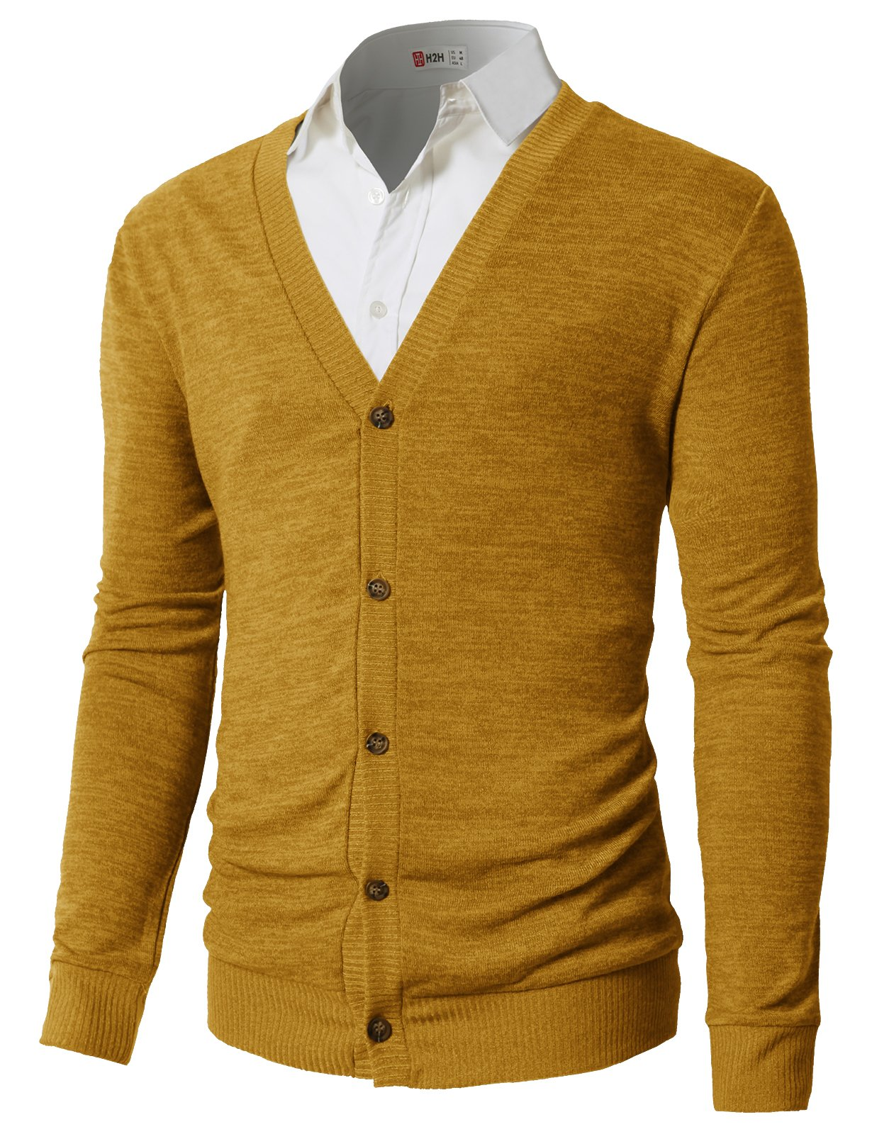 H2H Mens Casual Slim Fit Knitted Cardigan Herringbone Patterned With Pocket Mustard US XL/Asia 2XL (CMOCAL019)