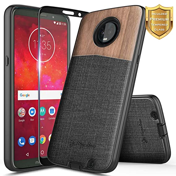 new products 0e011 bb764 Moto Z3 Play Case, Moto Z3 Case with Tempered Glass Screen Protector (Full  Coverage), NageBee [Natural Wood] Snap-On Premium Canvas Fabrics Heavy Duty  ...