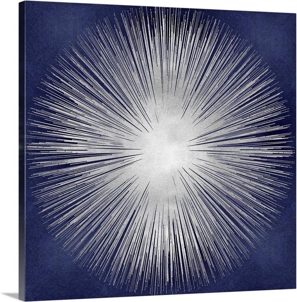 Amazon Com Silver Sunburst On Blue I Canvas Wall Art Print 36 X36 X1 25 Posters Prints