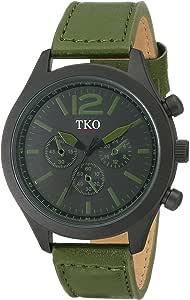 TKO Men's Matte Black Case Rugged Aviator Watch Green Leather Military Watch TK650GR
