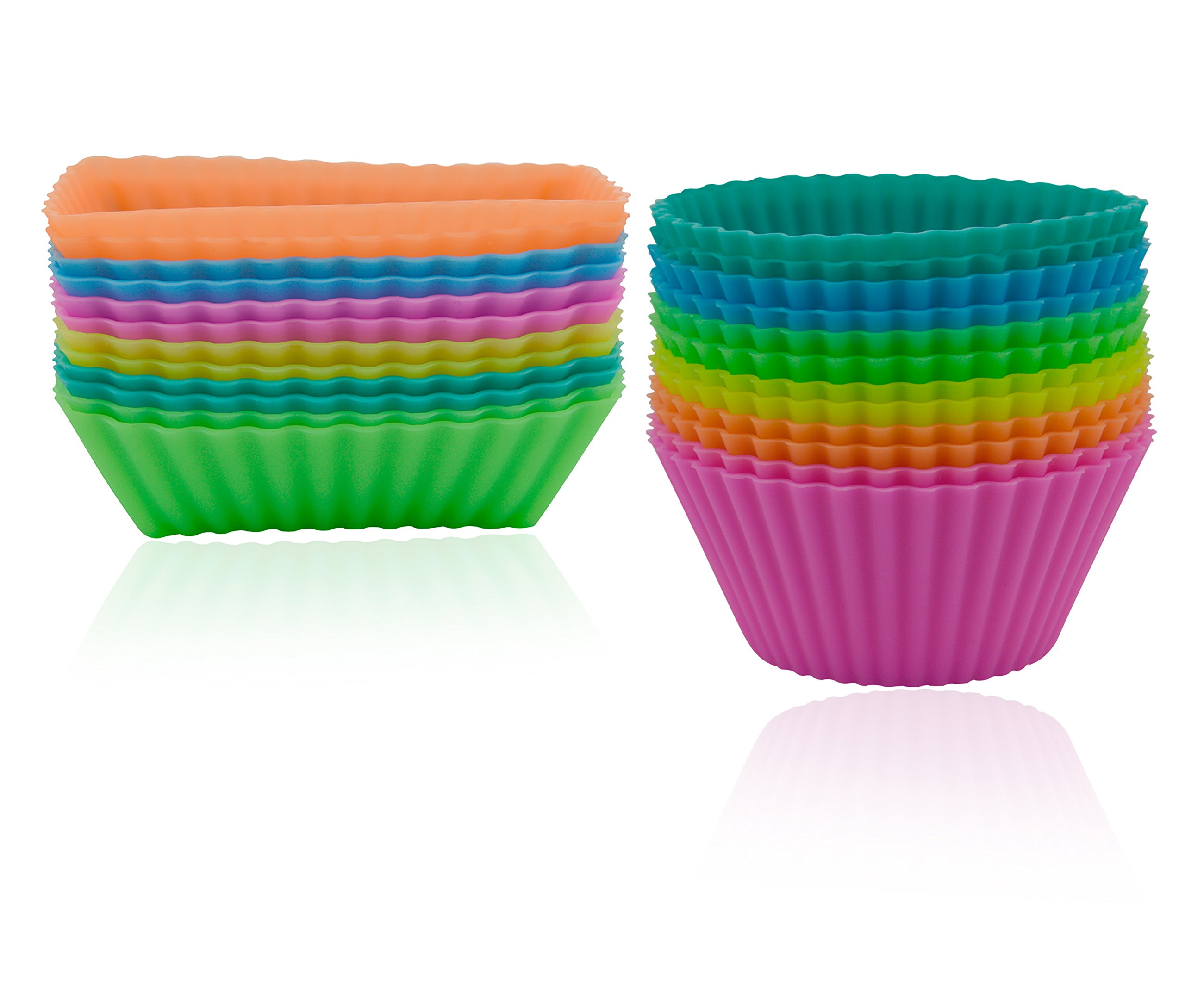 Ipow Silicone Cupcake Baking Muffin Cups Liners Molds Sets24Pack Multi 1 14