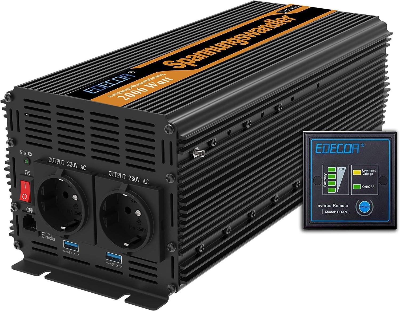 EDECOA inversor 24v 220v convertidor 2000w y pico de 4000w 2x USB y mando a distancia transformador 24v a 230v de onda sinusoidal modificada para camion