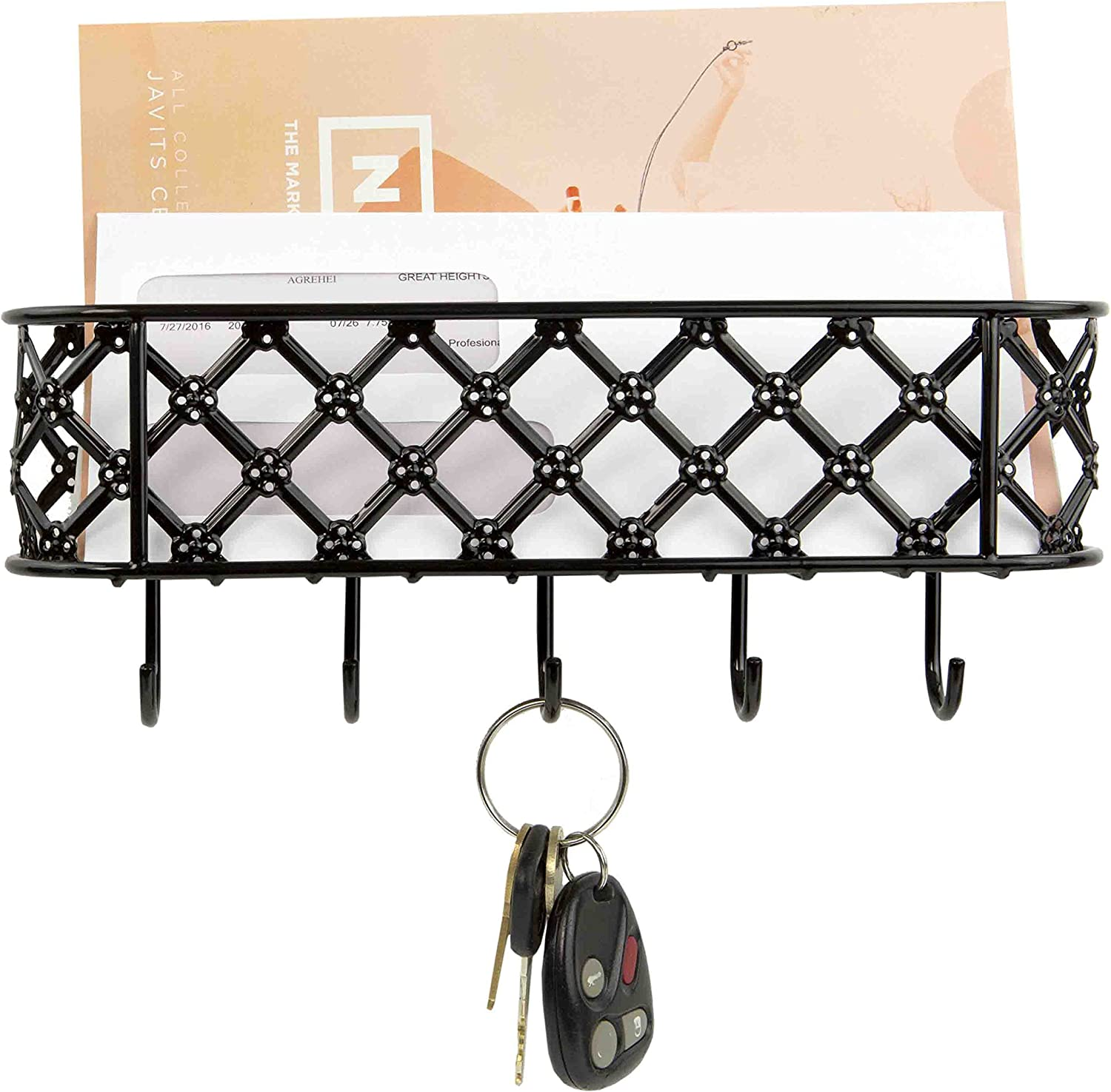 Home Basics Wall Mount Metal Entryway Storage Organizer Mail Sorter Basket with 5 Hooks - Letter, Magazine, Coat, Leash and Key Holder for Entryway, Mudroom, Hallway, Kitchen, Office, Black