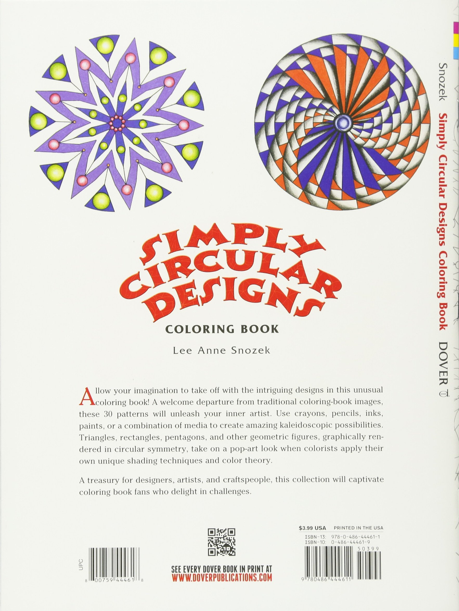 Simply Circular Designs Coloring Book Dover Design Books Lee Anne Snozek 9780486444611 Amazon