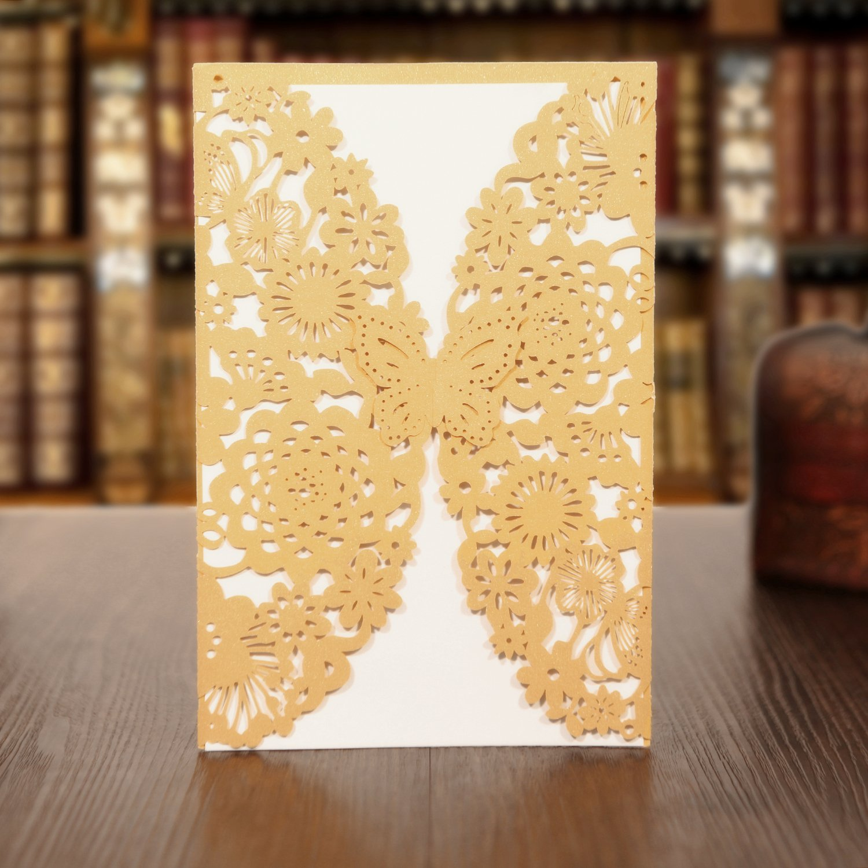 KAZIPA 25PCS Laser Cut Invitations, 4.7''x 7'' Wedding Invitations + Blank Paper + Envelopes for Wedding Bridal Shower Anniversary Birthday Party, Gold+White