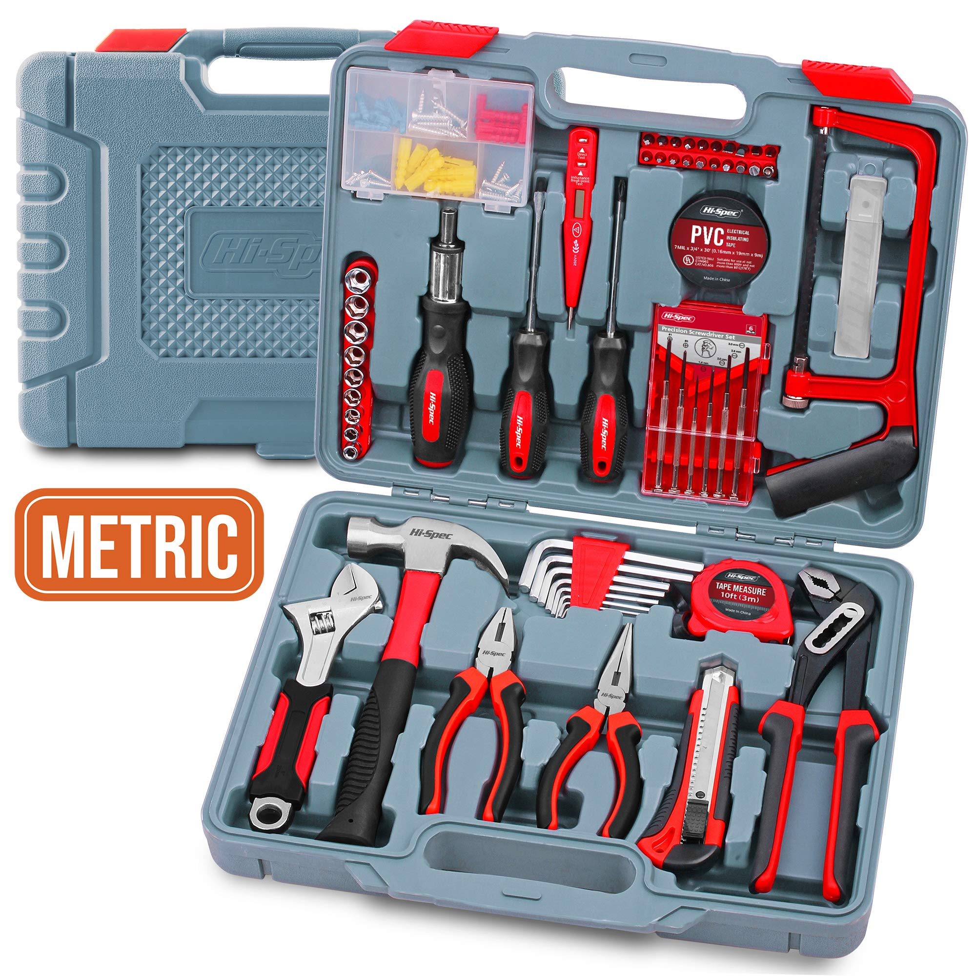 Home & Garage Tool Kit, Hi-Spec DT50103, Long Nose Tongue and Groove Pliers, Ratcheting Bit Driver, Claw Hammer, Hack Saw, Precision Screwdriver Set, Adjustable Wrench & Sockets Tool Set, 120 pieces by Hi-Spec