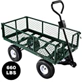 Senrob Steel Garden Cart Heavy-Duty, Utility Garden Wagon 660 Lbs. Load Capacity with Removable Sides&10 Inches Pneumatic Tires