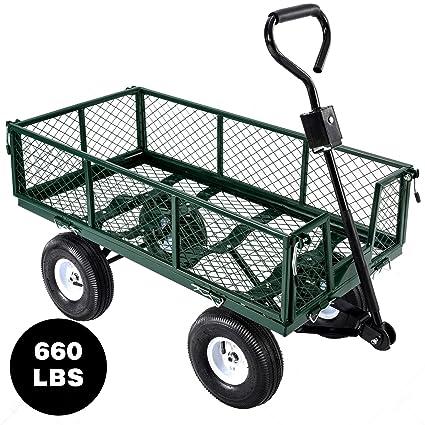 Senrob Steel Garden Cart Heavy Duty, Utility Garden Wagon 660 Lbs. Load  Capacity
