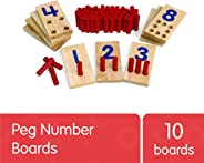Excellerations 2.5 X 5 inches, Peg Number Boards Wooden, Counting Teaching Toy, Educational Toy, Preschool, Kids Toys