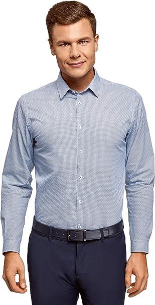 oodji Ultra Hombre Camisa Entallada con Estampado Gráfico: Amazon.es: Ropa y accesorios