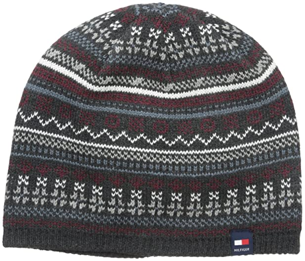 Tommy Hilfiger Men's Fairisle Beanie, Charcoal, One Size at Amazon ...