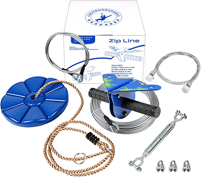 SSLine Zipline Kit for Kids and Adult 118FT Backyard Zip Line Set with Brake//Seat//Safe Belt Stainless Steel 250LBS Weight Capacity
