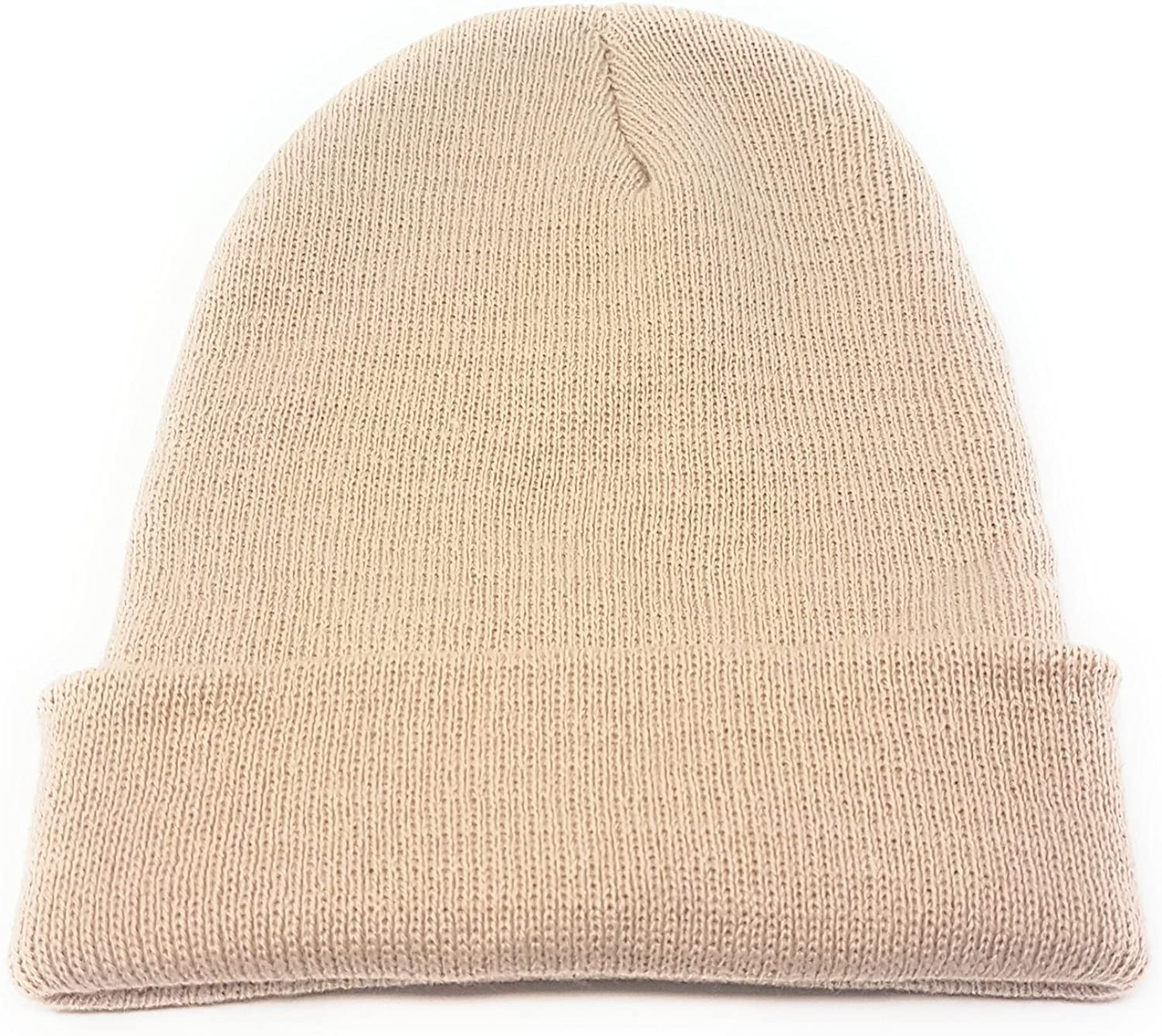 Kids Beanie Hat Unisex Slouch Winter Woolly Turn Up Knitted